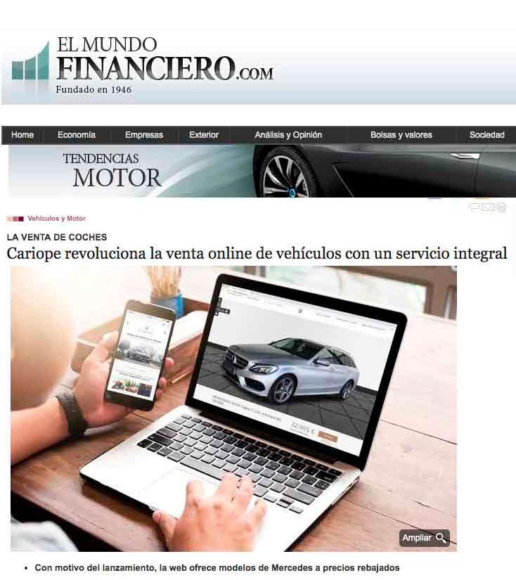 Información sobre Cariope en el periódico El Mundo Financiero